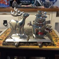Deer and snow men Christmas Stocking Holder, Lot of 2, Silver Tone
