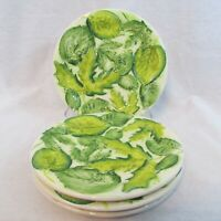 4 Green Leaves Salad Dessert 8.25 in Plates Green & White Majolica Made in Italy