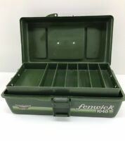 Vintage Fenwick 1040 Geen  Fishing Tackle Box 12x6.5 Gear Lure Tool Storage