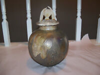 Raku Vase Urn Lidded Multicolor Copper tone colors signed by McGee 2003