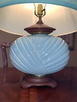 LAMP 1950's MID CENTURY MOD Haeger POTTERY Mint Green 3150 SIGNED ANTIQUE HUGE