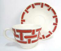 Egersund Norway Red & Black Modern Style Rectangle Pattern TEACUP AND SAUCER ~BB