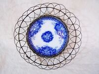 Antique Victorian Wire Egg Basket Napkin Plate w Flow Blue Majolica Bowl c1880 c