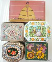 LOT OF 5 DECORATIVE TINS,GALES CHOCOLATES,FLORAL HOME DECOR, VINTAGE TO MODERN,