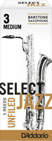D'Addario 5 PACK Select Jazz Baritone Saxophone Reeds 3M 3 Med Strength Unfiled