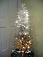 Ombre Silver,white and Gold Slim Christmas Tree 4 Ft Pre-lit w/70 lights