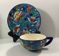 Emaux de Longwy Floral Enamel Cup And Saucer France Art Pottery Vintage