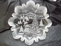 Etched Clear Crystal Glass Holiday Christmas Plate/Platter