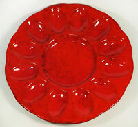 Rare Pleasant Valley Italian Pottery Red Cabbage Deviled Egg Plate Platter
