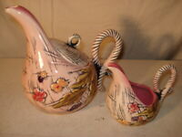 1955 HULL ART POTTERY BLOSSOM FLITE T14 & T15 TEAPOT AND CREAMER