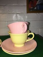 VINTAGE LU-RAY POTTERY CUP AND SAUCER SETS YELLOW AND SHARON PINK 1940'S