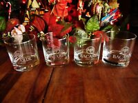 SET 4 BACARDI BAT CLEAR GLASS TUMBLERS estd 1862 RUM ADVERTISING GLASSWARE