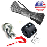 Synthetic Winch Line Cable Rope with Sleeve + Winch Hook Stopper For ATV UTV