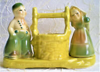 VINTAGE SHAWNEE USA POTTERY WISHING WELL PLANTER DUTCH BOY & GIRL IN GREEN #710