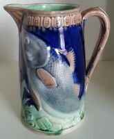 Pretty/Old Majolica Fish Pitcher with Nice Cobalt Blue, Circa 1880s