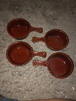 4 Vintage West Germany BAY KERAMIK Handled Bowls Ceramic Mid Century W Germany
