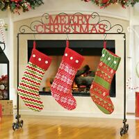 NIB Kirkland's MERRY CHRISTMAS Free-standing Stocking Holder - Metal Scrolling