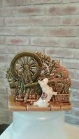 50s McCOY USA SPINNNG WHEEL PLANTER w/ SCOTTIE DOG and CAT