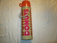 Vintage Dunkin Donuts Tan and Orange Thermos - 13 1/2