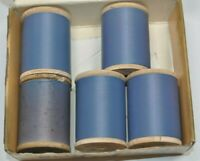 Lot of 5 Vintage 1oz Spools Gudebrod Nylon NCP Size A Thread Blue Dun 272 950yds