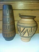 Vintage Small West German Pottery Ceramic Vase Lot (2)  Mid Century