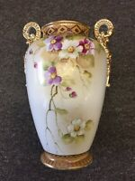 NIPPON VASE URN FLORAL BEAUTY IMPERIAL HAND PAINTED ORNATE GOLD PURPLE GREEN WOW