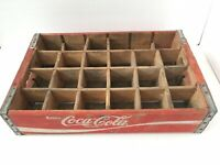 Vtg Coca-Cola Wooden Red Soda Pop 24 Bottle Crate Carrier Box Case Wood Coke