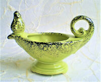 VINTAGE SHAWNEE POTTERY GREEN & BLACK SPLATTER ALADDIN GENIE MAGIC LAMP PLANTER