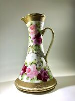 "Nippon  11"" Moriage Ewer Hand Painted Pink Roses Maple Leaf Mark"
