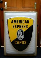 IMPRESSIVE AMERICAN EXPRESS CARD SIGN~1960s CENTURION~DOUBLE SIDED~LIGHTED~WORKS