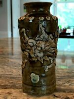 Fine Antique Japanese Pottery Sumida Gawa Vase with Dragon
