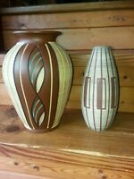 Vtg West German Pottery Ceramic Vase Lot (2)  Mid Century both marked