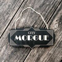 City Morgue - Black Halloween Door Sign