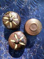 Three Phil Rogers Wood-Fired Ceramic Lidded Boxes