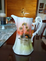 Vintage Hand Painted Japanese Nippon Pitcher. Tree in Meadow. 7 1/4