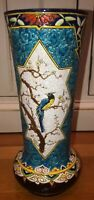 LONGWY style FRENCH POTTERY VASE EXOTIC BIRDS LARGE SIGNED Sarreguemines 12""