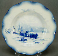 Sarreguemines Marines Series Blue Transferware Faience Deep Plate C. 1890-1918 C
