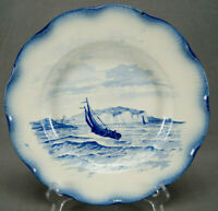 Sarreguemines Marines Series Blue Transferware Faience Deep Plate C. 1890-1918 B