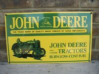 JOHN DEERE Tractor Advertising Sign,HEAVY PORCELAIN, By ANDE ROONEY Signs NICE!!
