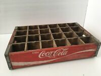 Old Coca-Cola Wooden Red Soda Pop 24 Bottle Crate Carrier Box Case Wood Coke