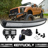 50 INCH Curved LED Light Bar +2x Led Pods For Polaris Ranger RZR XP 900 1000 570