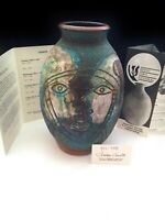 RARE CHARLES COUNTS Art Pottery Signed Incised Stoneware Vase Rising Fawn Studio