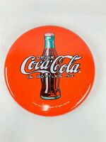 Vintage Drink Coca Cola In Bottles 5 Cents Button Metal Sign Red Soda 12 Inches