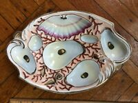 Oyster Plate Antique Porcelain Oyster Plate c1800's, Brooklyn found. Some gold