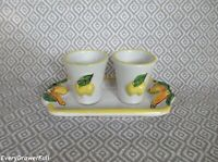Vintage LIMONCELLO SHOT GLASSES AND TRAY Cups Hand Painted Pottery ITALY