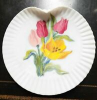 Estate find exquisite Mount Washington Glass Co handpainted plate Tulips
