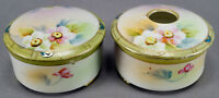 Nippon Hand Painted Wild Roses & Moriage Hair Receiver & Trinket Box 1891 - 1921