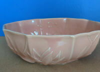 """Vintage Nelson McCoy Pottery Rose Pink Lotus Console Bowl Planter 8"""" 1940'sNM"""