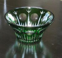Emerald Green Cut to Clear Crystal Bowl Germany