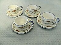 Castelli Pottery Italy Set of 4 Demitasse/Espresso Cups and Saucers Sm.Flowers